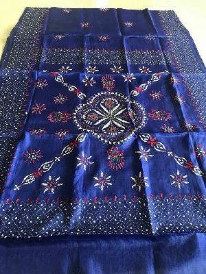 Beautiful Tussar Muga Hand Kantha Embroidery Sarees