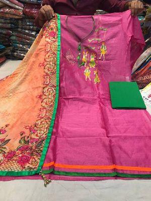 Chanderi Silk Work Suit Dupatta