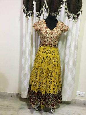 Kalamkari Silk Cotton Anarkali Tops