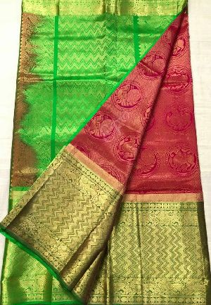 Kanchipuram Gadwal Silk Sarees With Contrast Blouse