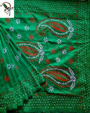 Katha Work Embriodery On Assam Silk With Running Blouse Piece