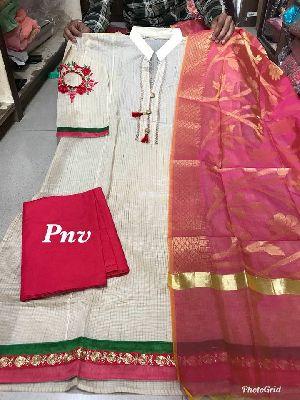 Pnv Cotton Georgette Semi Stitch Suits