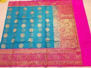Pure Banarasi Handloom Kora Silk Sarees
