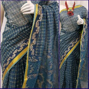 Pure Kota Doria Cotton Block Printed Sarees
