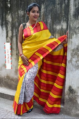 Pure Murshidabad Block Printed Silk Sarees With Running Blouse