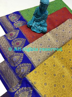Emboss Border Soft Katan Weaving Silk Sarees