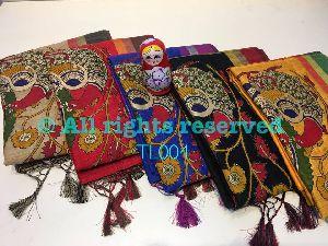 Tussar Blended Kalamkari Applique Work Sarees