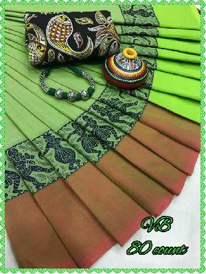 Vb 80 Count Chettinad Cotton Sarees With Kalamkari Blouse And Neckpiece