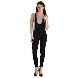 Ladies Black Cotton Dungaree
