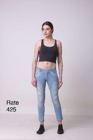 Ladies Blue Rugged Jeans