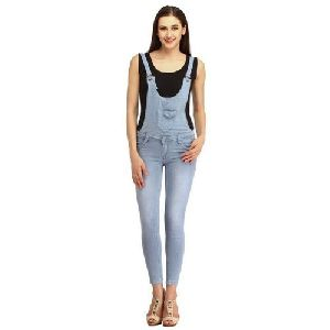 Ladies Light Blue Cotton Dungaree