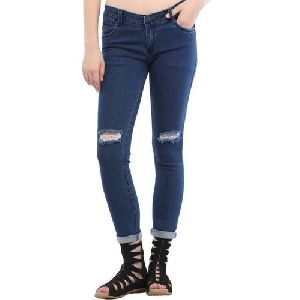 Ladies Ripped Dark Blue Denim Jeans