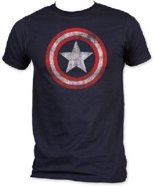 New Marvel Comics Captain America Classic Shield Logo Men's Blue T-shirt New