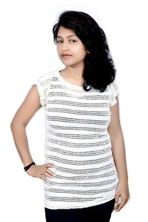 Girls Round Neck Full Net T-shirts
