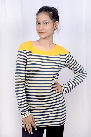 Girls Round Neck Striped Tops