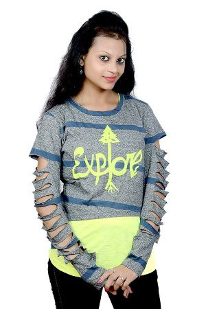 Girls Stylish Full Sleeves Top With Inner