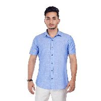 Sky Blue Half Sleeve Cotton Shirts
