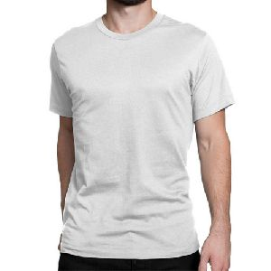 Mens White  Round Neck Plain T-shirts