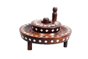 ARZ Wooden Decorative Chakki Handcrafted with rare Laquer Inlay Art