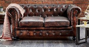 Shoreditch Chesterfield 2 Seater Leather Sofa