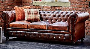 Shoreditch Chesterfield 3 Seater Leather Sofa