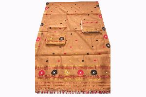 Eagle Group 100% Handloom Ready To Wear Orange Yellow Colored Soft Cotton Mekhela Chadar
