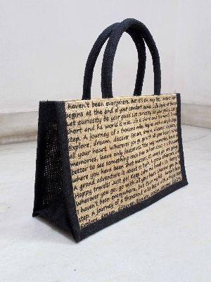 Black Handle Jute Bag