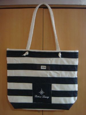 Cotton Handle Striped Bag