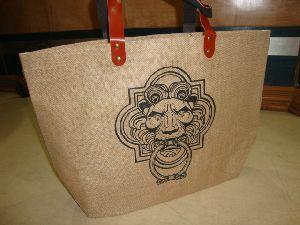 Rexine handle Natural Jute Bag
