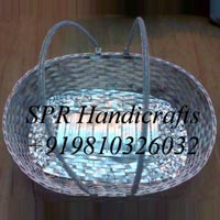 Oval Cane Basket with Handle