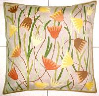 Chain Stitched Floral Cushion Cover