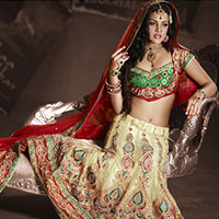 Cream Net Lehenga Choli With Dupatta
