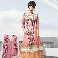 Pink Net Jacket Style Lehenga Choli With Dupatta