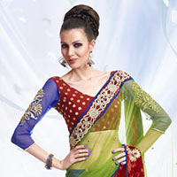Art Silk Lehenga Style Saree With Blouse