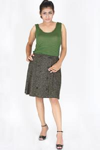 Front Open Pleated Skirt