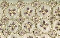 Wooden Floral Beaded Fabric