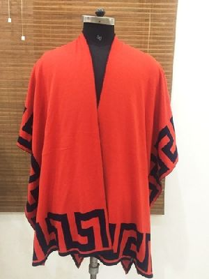Ladies Flat Knitted Poncho