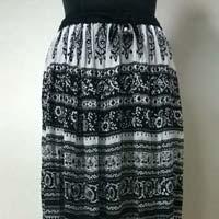 Rayon 2 Panel Black N White Printed Ladies Skirt
