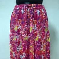 Rayon Crepe Printed 4 Tier Ladies Skirt