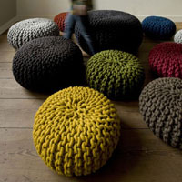 Hand Knitted Wool Pouf
