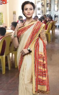Msc2023-mm Bansi Vichitra Vrinda Ats Uniform Cream Crepe Saree