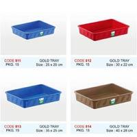 Gold Plastic Tray - 45 X 32 Cm