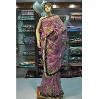 Net Velvet Embroidered Saree
