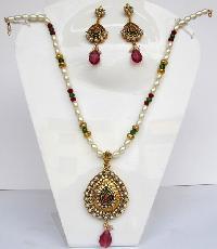 Coral Jade Pearl Necklace Set