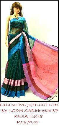 Exclusive Kolkata Jute Cotton Maha Par Saree Collection