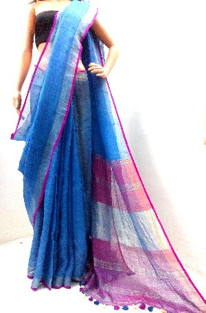 Handloom Pure Linen Jari Border Saree
