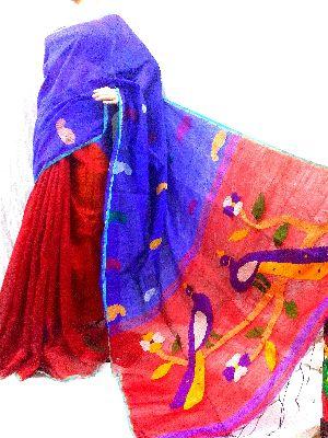 Handloom Silk Cotton Jamdani Saree