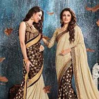 Beige Brasso Georgette With Double Blouse Designer Saree
