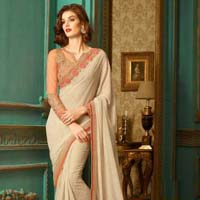 Border Work Shimmer Georgette Designer Saree