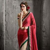Celestial Red Georgette On Net Designer Saree